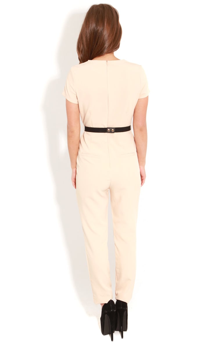 Alberta Beige Short Sleeve Fitted Jumpsuit With Bronze Tone Belt 2