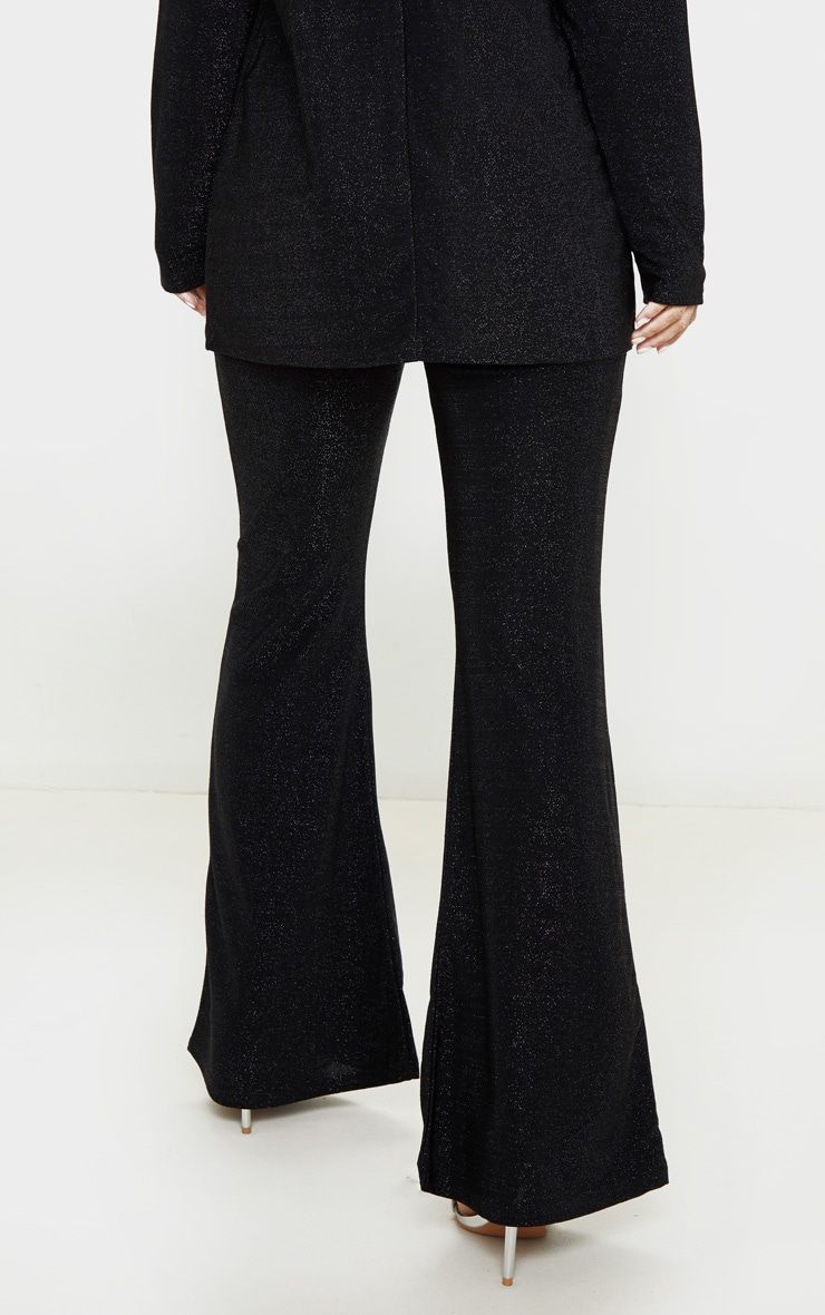 Petite Black Textured Glitter Flared Pants 4