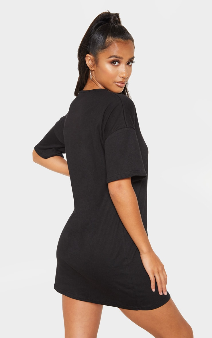 Petite Black Oversized T Shirt Dress 2