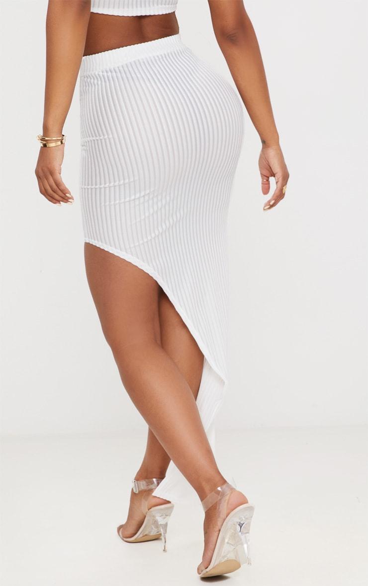 Shape White Striped Velvet Asymmetric Midi Skirt 4