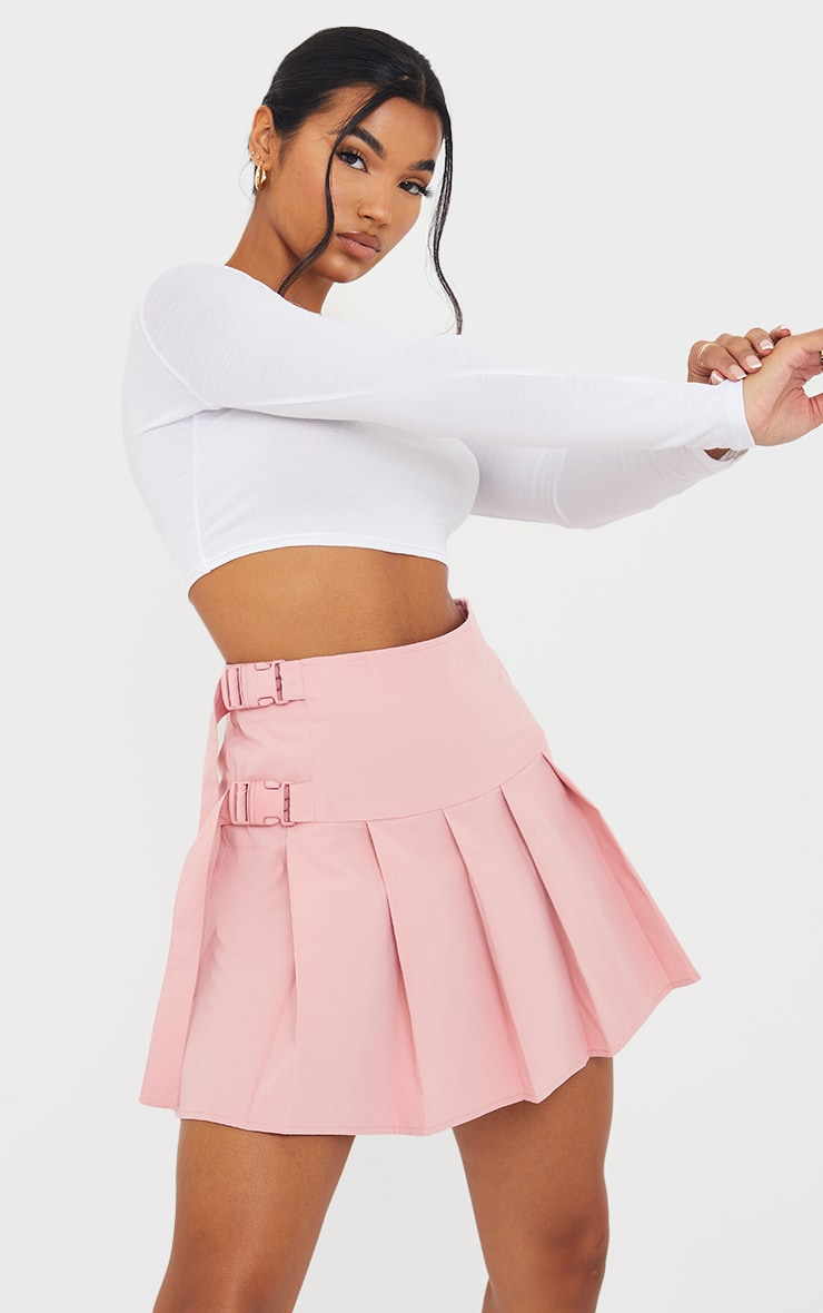 Baby Pink Buckle Detail Woven Pleated Mini Skirt 4