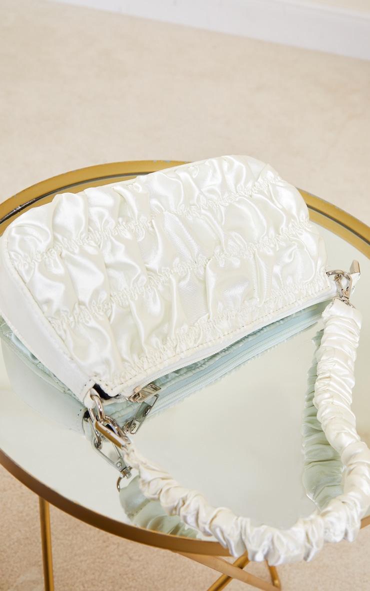 Cream Ruched Handle Shoulder Bag 2