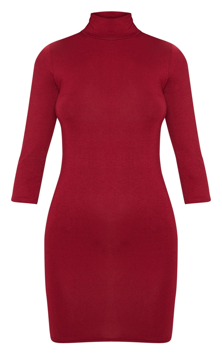 Basic Burgundy High Neck Jersey Mini Dress 3