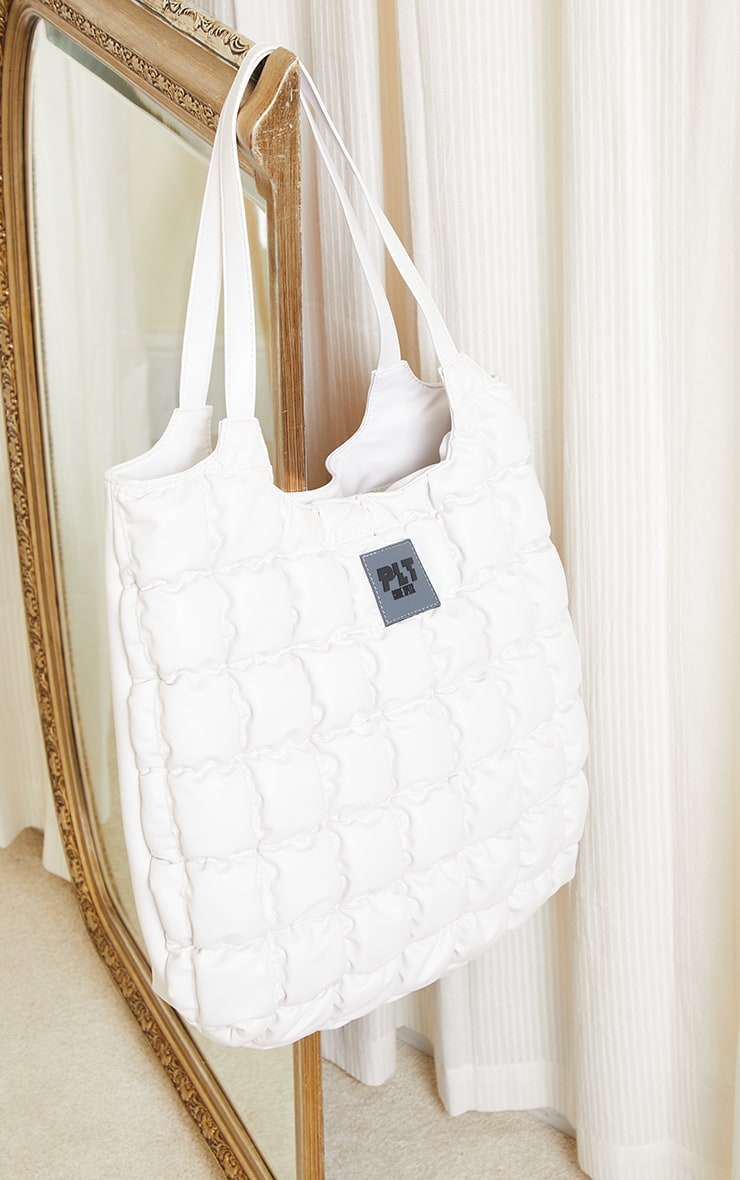 PRETTYLITTLETHING White Padded Tote Bag image 2