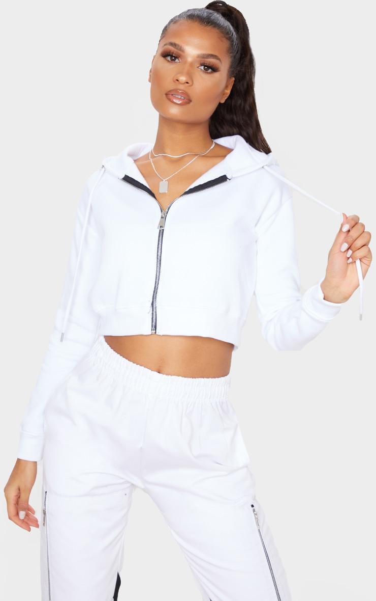 White Crop Zip Hoodie 1