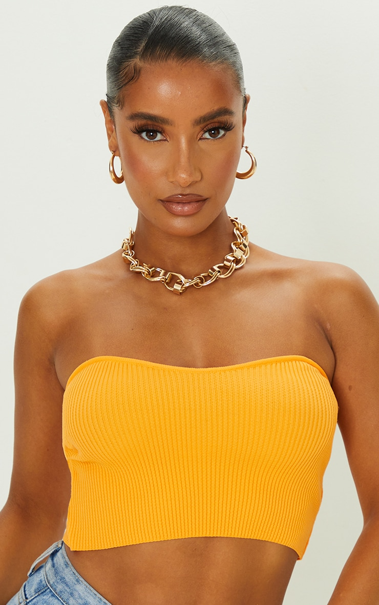 Orange Knitted Ribbed Bandeau Top 4