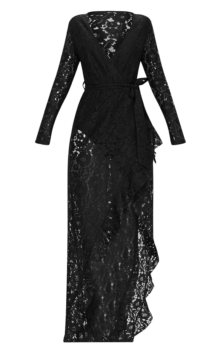 Black Lace Long Sleeve Wrap Front Maxi Dress