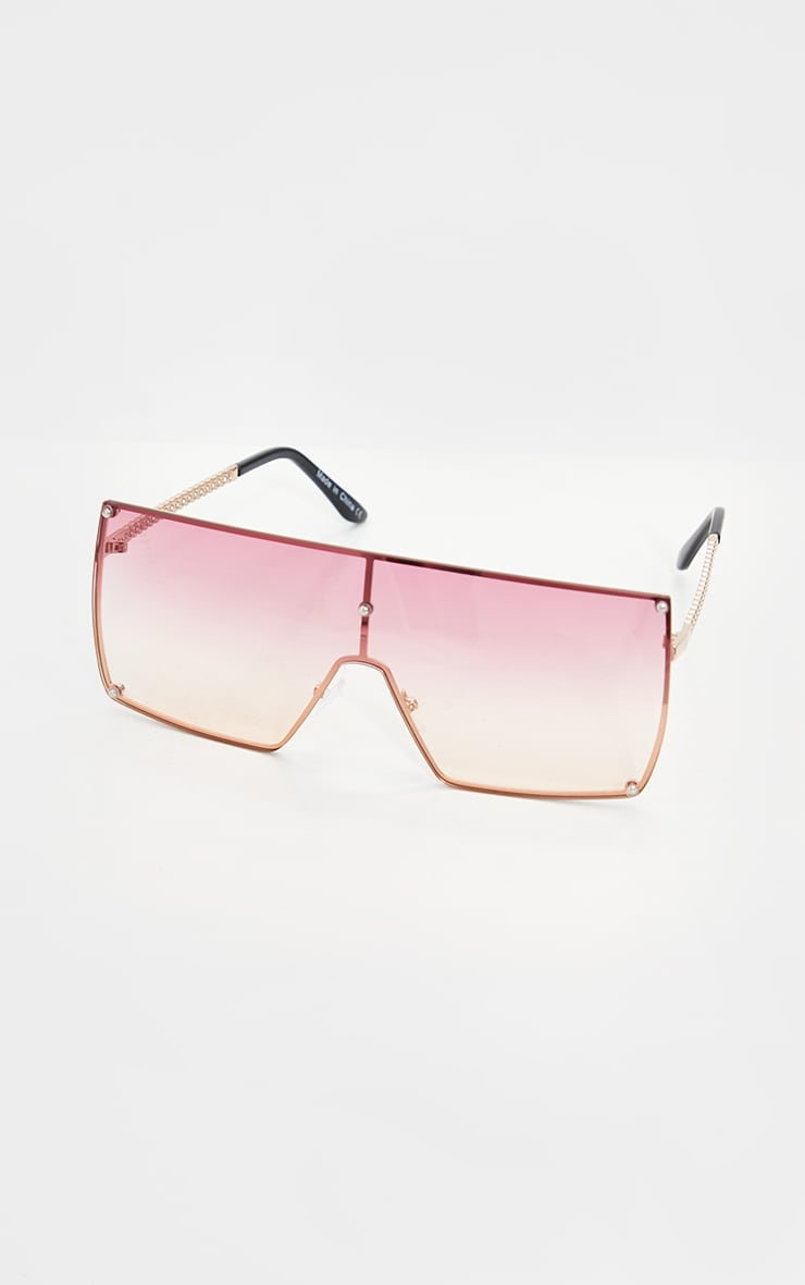 Pink Ombre Oversized Square Frame Sunglasses 2