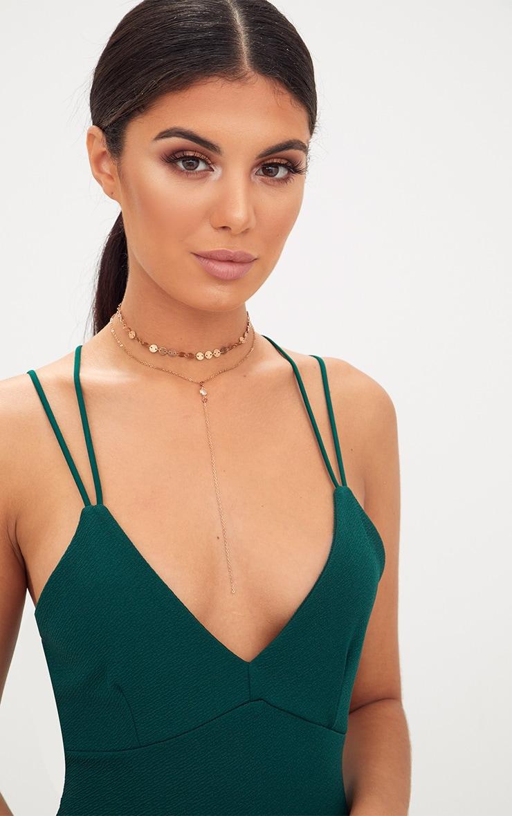 Emerald Double Strap Cross Back Plunge Bodycon Dress 5