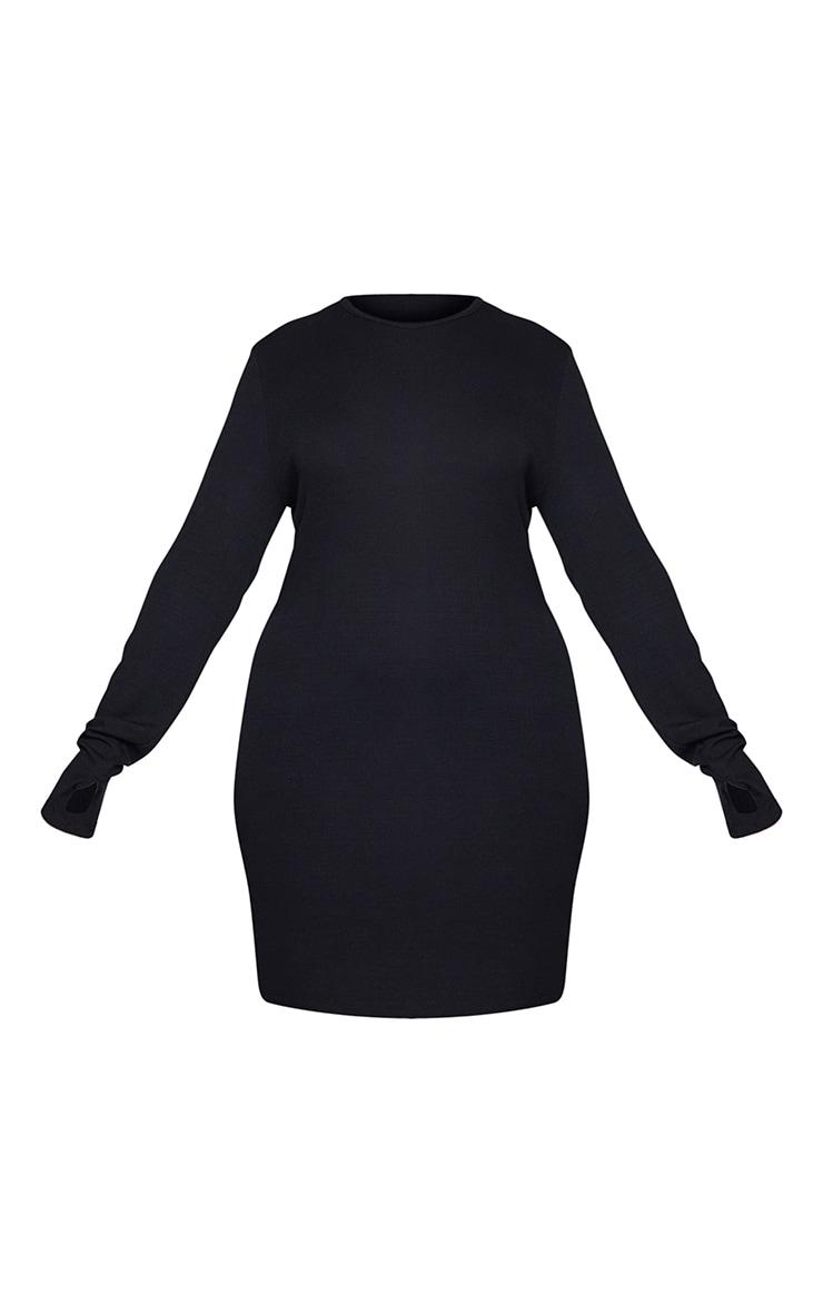 Plus Black Long Sleeve Thumb Hole Bodycon Dress 6