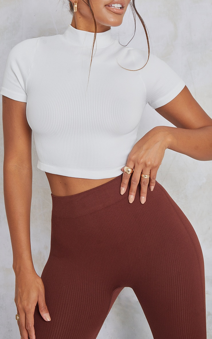 White Structured Contour Ribbed Short Sleeve High Neck Crop Top 4