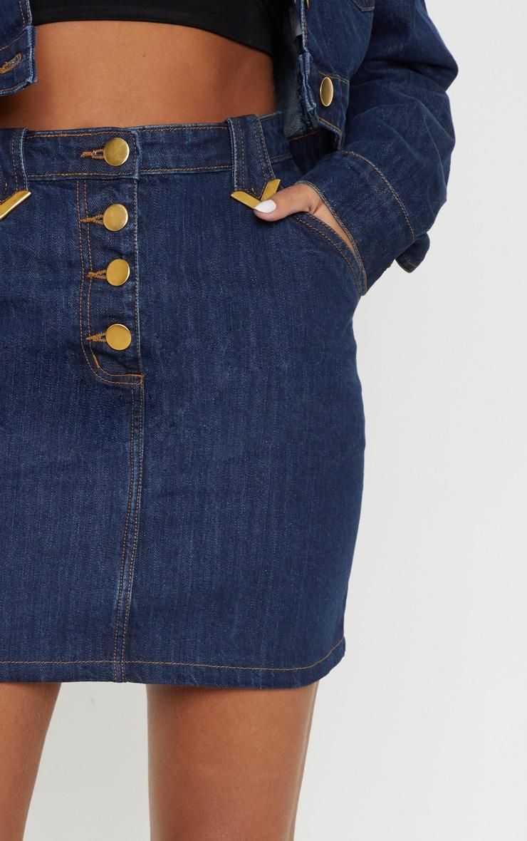 Mid Wash Tip Western Detail Denim Skirt 6
