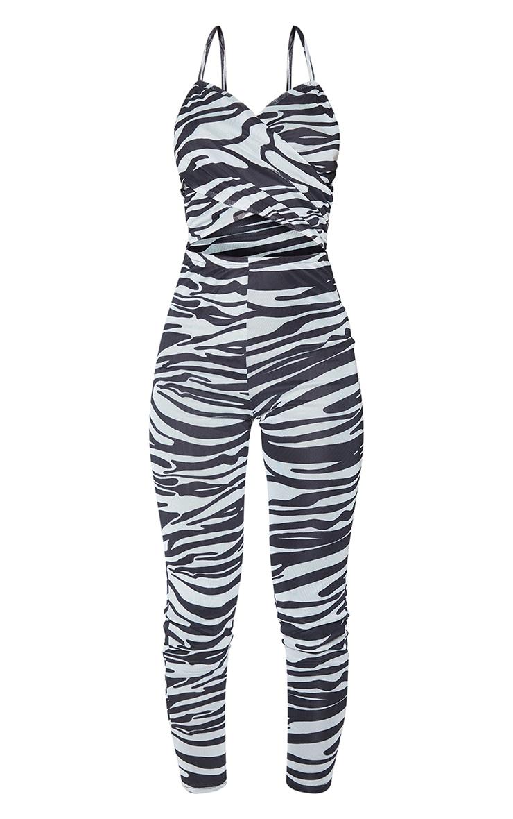 Monochrome Zebra Print Mesh Cross Front Halterneck Jumpsuit 5