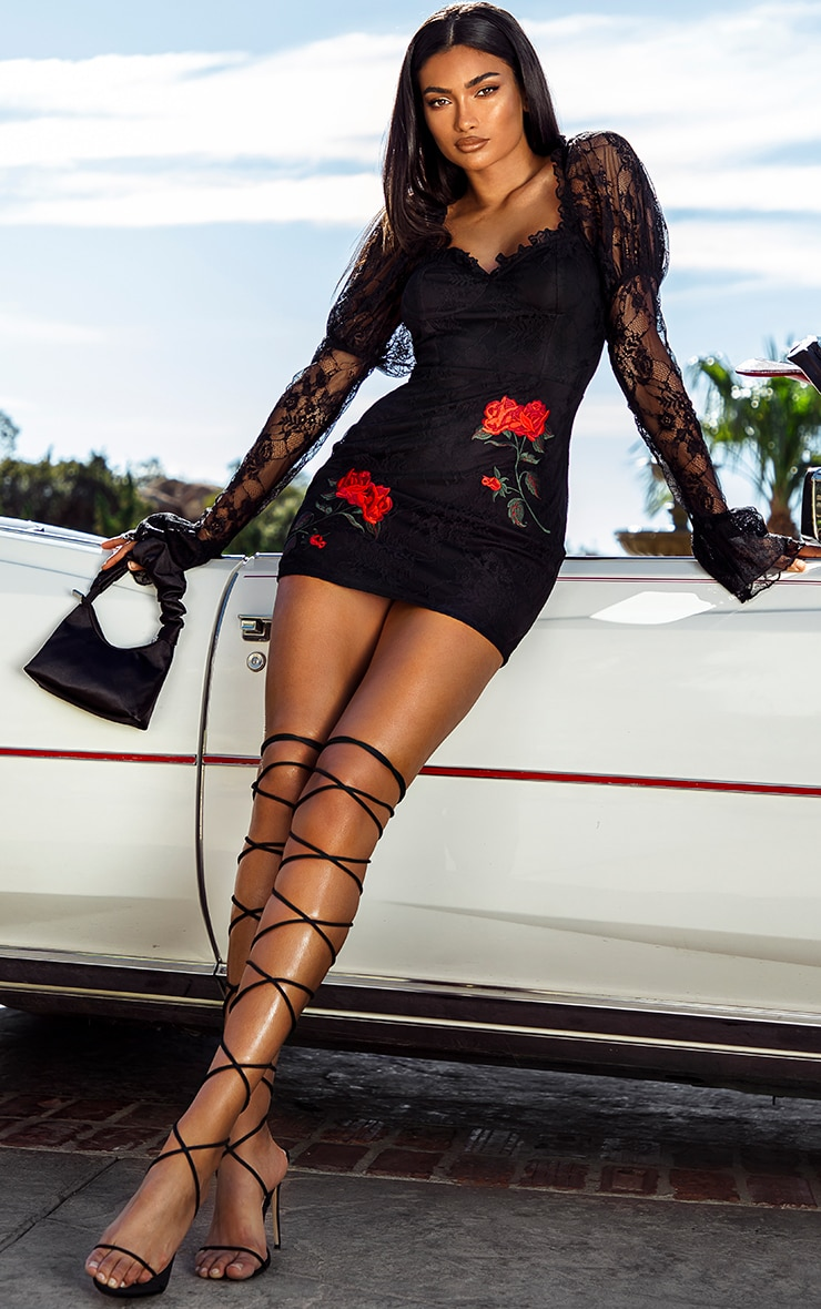 Black Lace Rose Embroidered Long Sleeve Bodycon Dress
