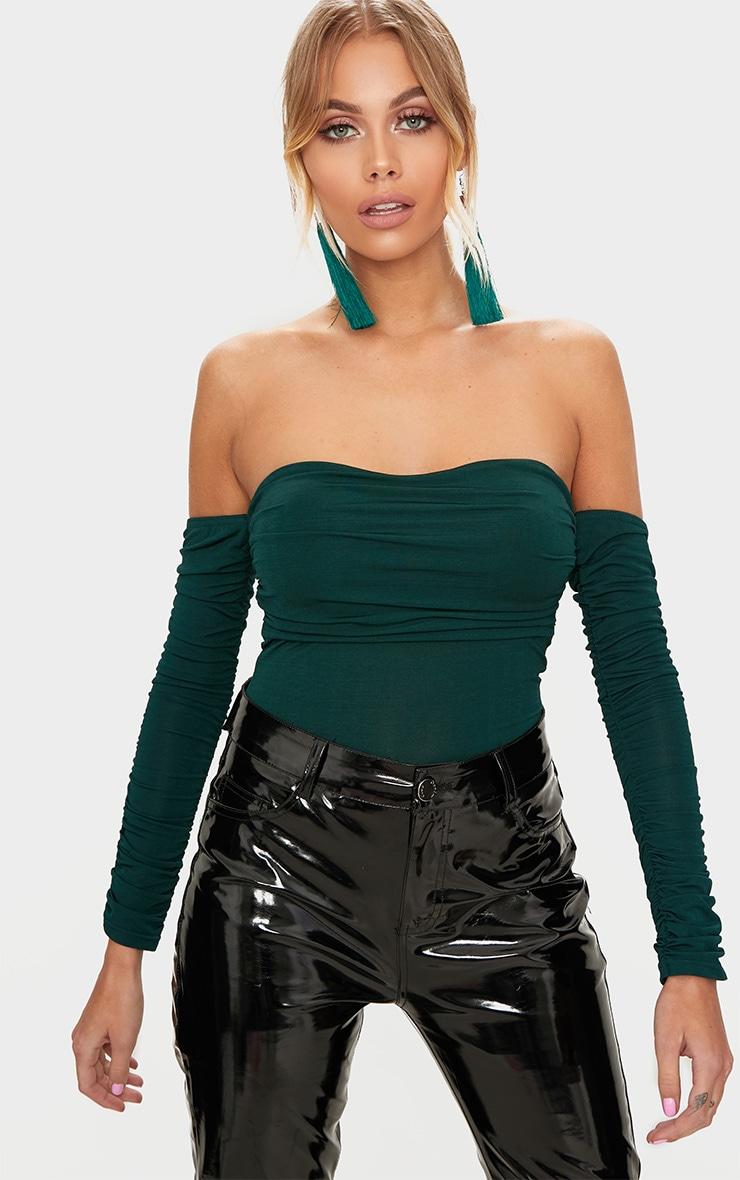 Emerald Green Bardot Ruched Sleeve Thong Bodysuit 1