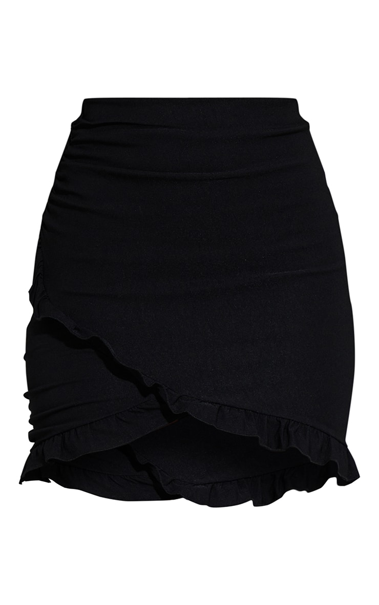 Black Woven Stretch Ruched Side Frill Hem Mini Skirt 6