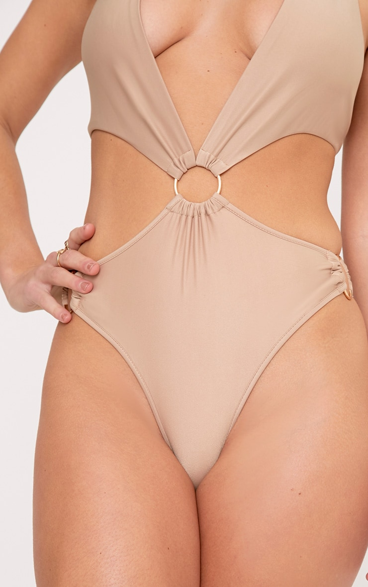 Charline Camel Plunge O Ring Swimsuit 5