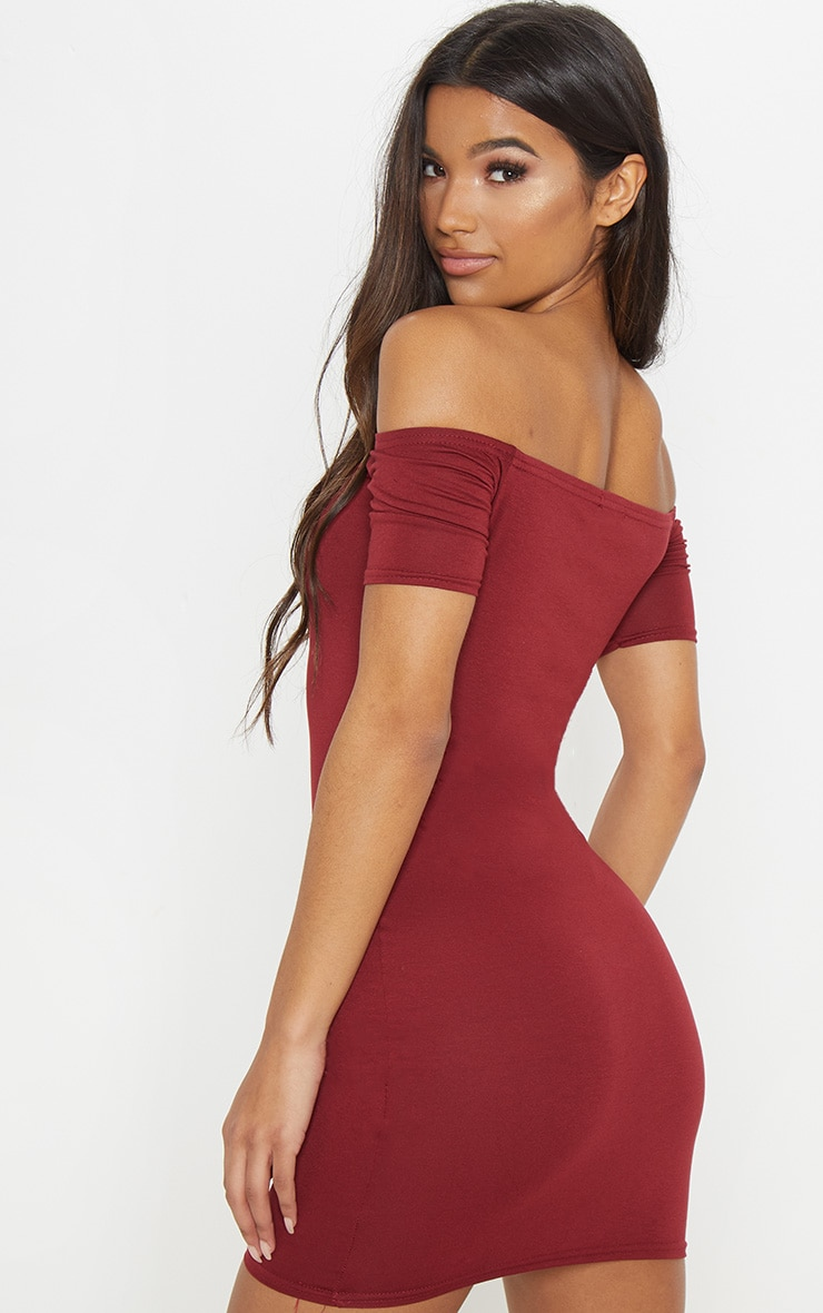 2 Pack Burgundy & Khaki Basic Bardot Bodycon Dress 6