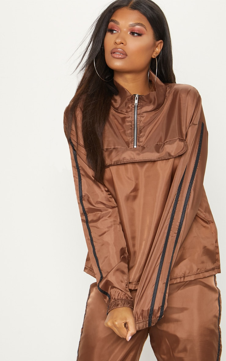 Chocolate Contrast Sport Stripe Zip Up Shell Top 1