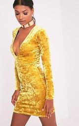 f8afb69a43 Charlie Dark Gold Plunge Detail Velvet Mini Dress image 5