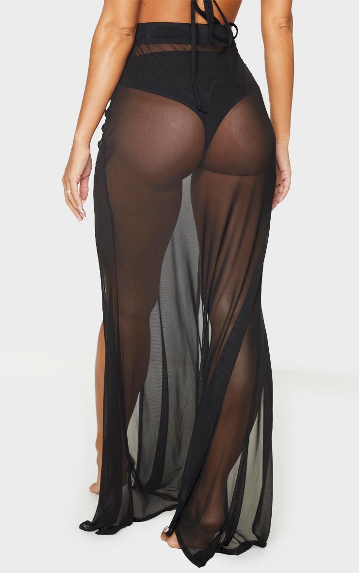 Black Split Ruched Maxi Skirt 3
