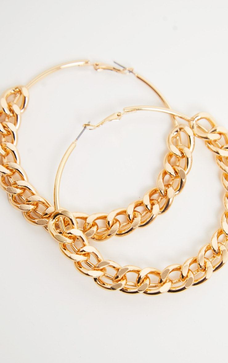 Gold Chunky Chain Hoops 3