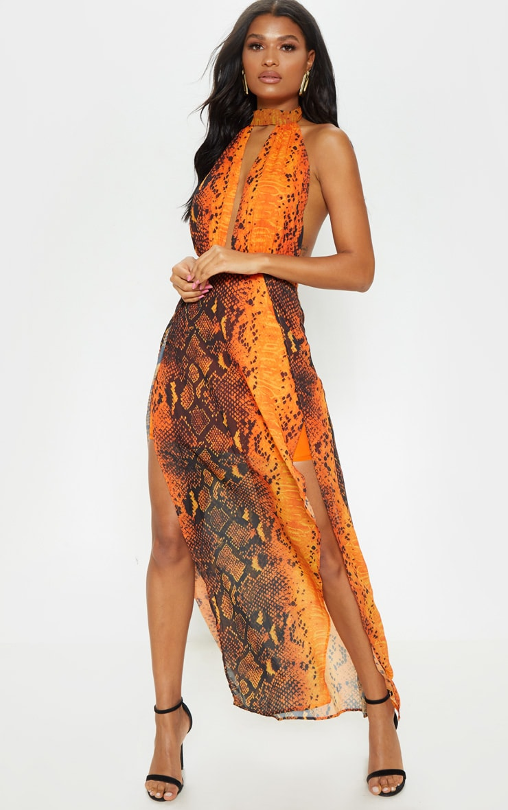 Leala robe maxi orange imprimé serpent 1