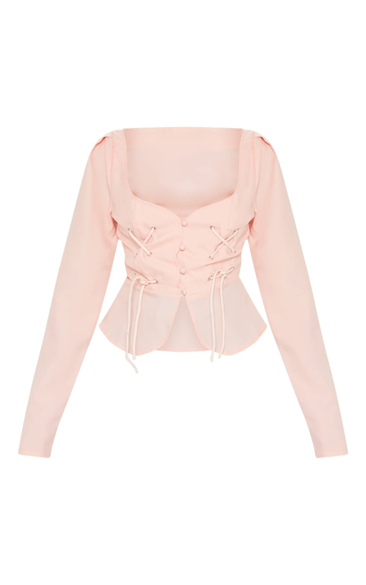 Petite Dusty Pink Long Sleeve Corset Blouse 3