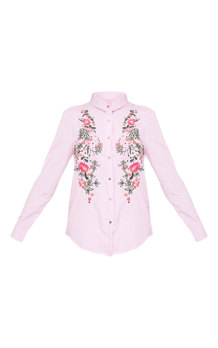 Pheobe Pink Embroidered Striped Shirt  3
