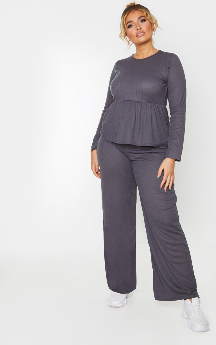 Plus Charcoal Ribbed Long Sleeve Smock Top 4