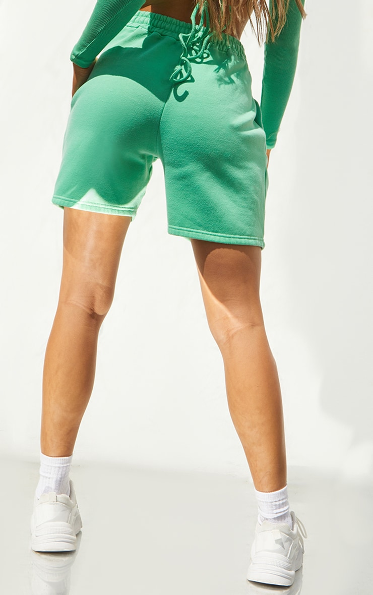 Bright Green Washed Sweat Runner Shorts 3