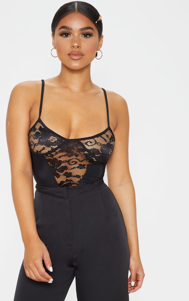 Petite Black Strappy Lace Bodysuit 1