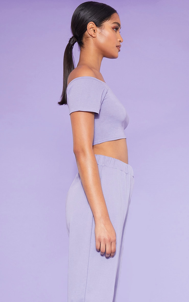 RECYCLED Violet Bardot Short Sleeve Crop Top 2