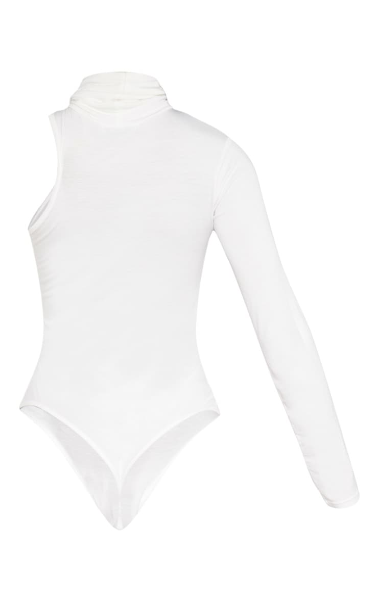 Cream Jersey Roll Neck Cut Out Bodysuit 6