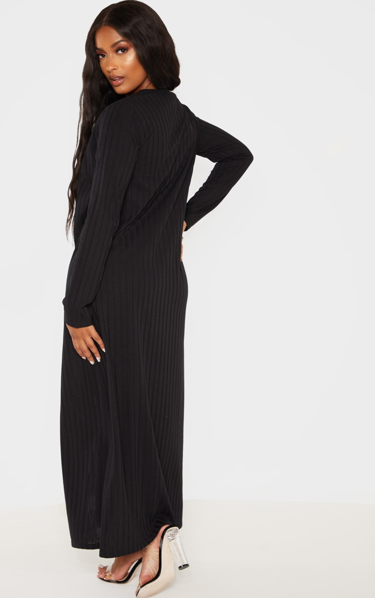 Shape Black Wide Rib Maxi Cardigan 2