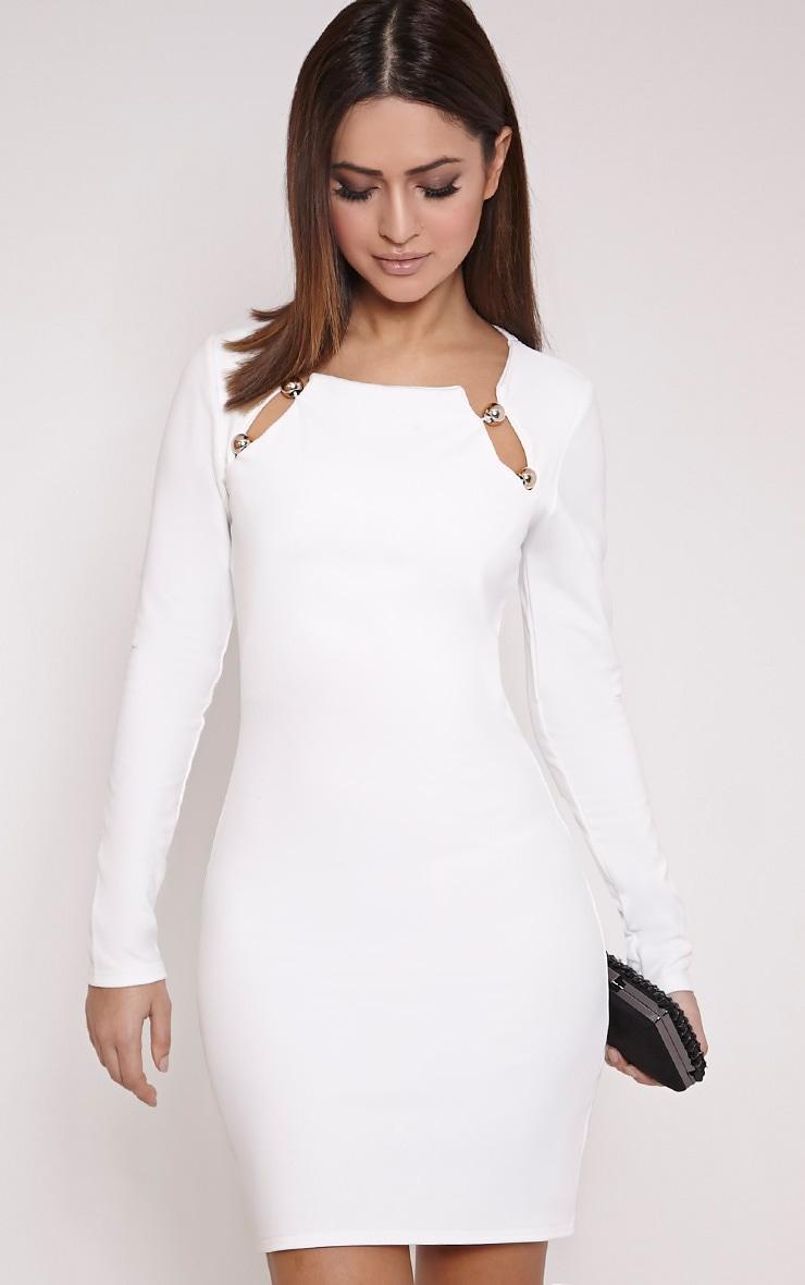 Marsha White Ball Detail Bodycon Dress 1