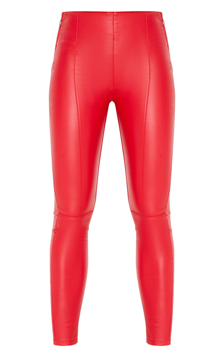 Red Zip Side Coated Jeans 3