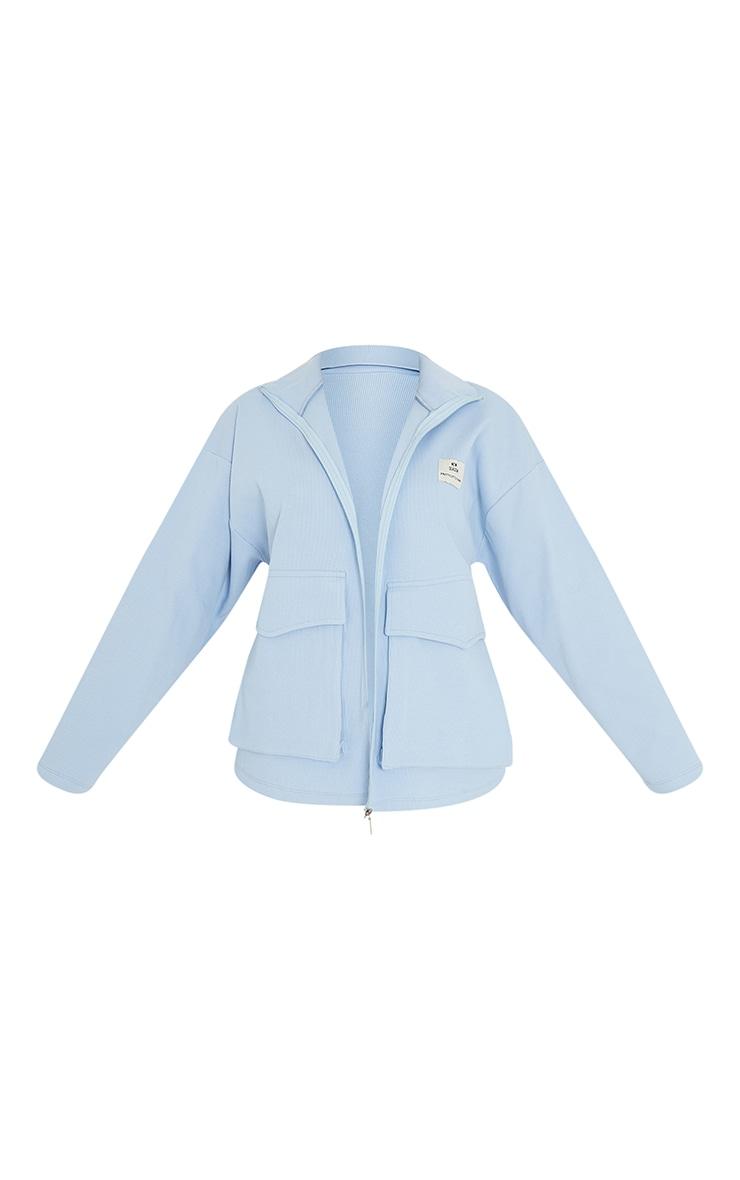 PRETTYLITTLETHING Baby Blue Pocket Front Ribbed New Season Jacket 5