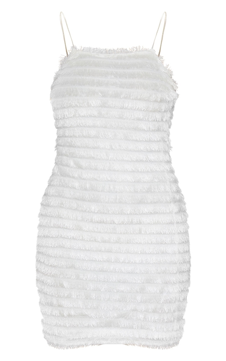 White Fringed Detail Strappy Bodycon Dress 3