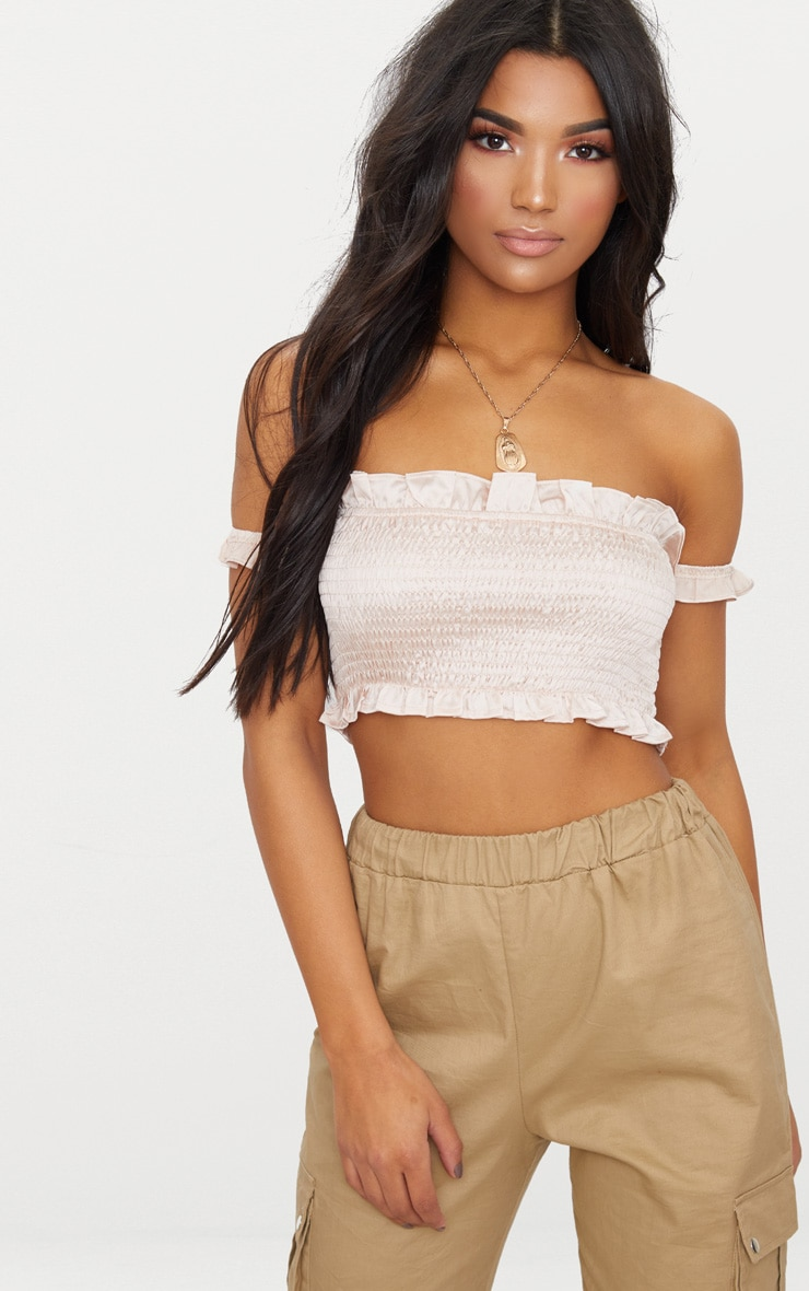 Blush Shirred Satin Bardot Crop Top  1