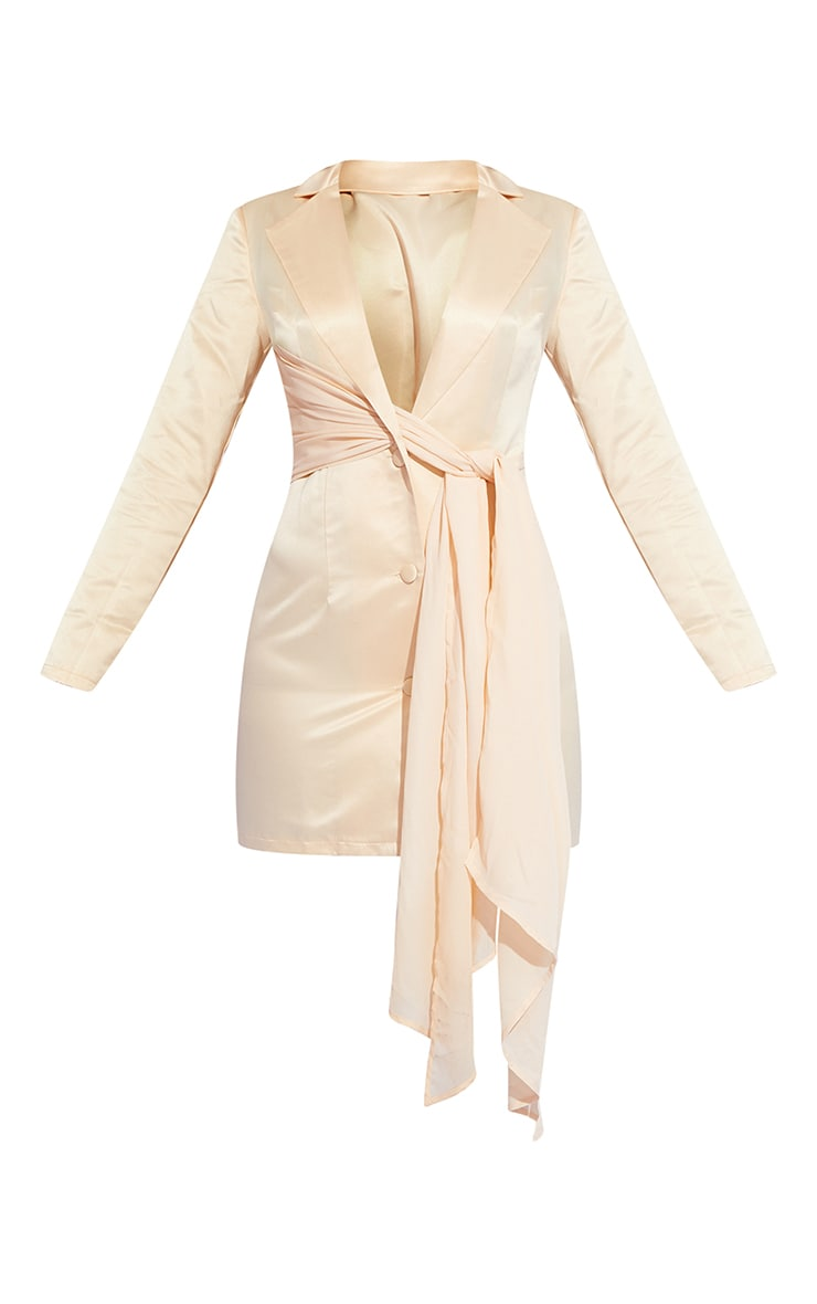 Champagne Satin Chiffon Drape Blazer Dress 5