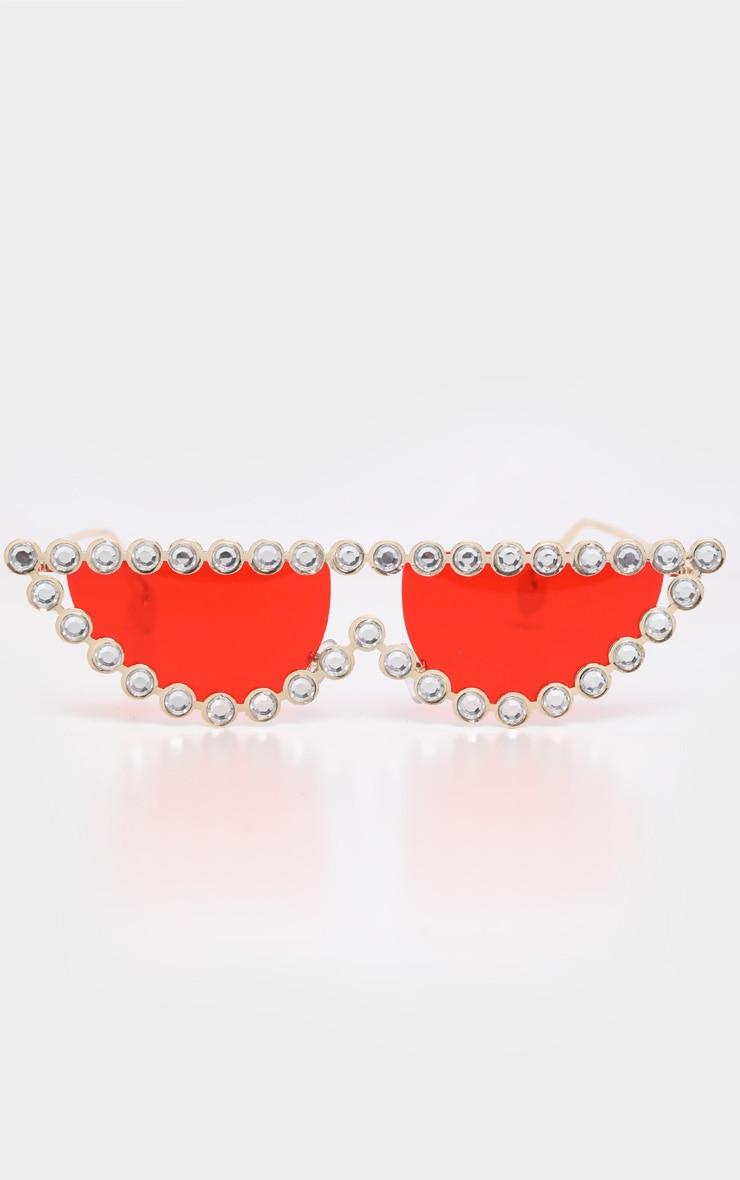 Red Lens Diamante Frame Cat Eye Sunglasses 2
