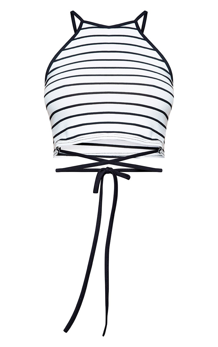 White Stripe Harness Detail Jersey Crop Top 3