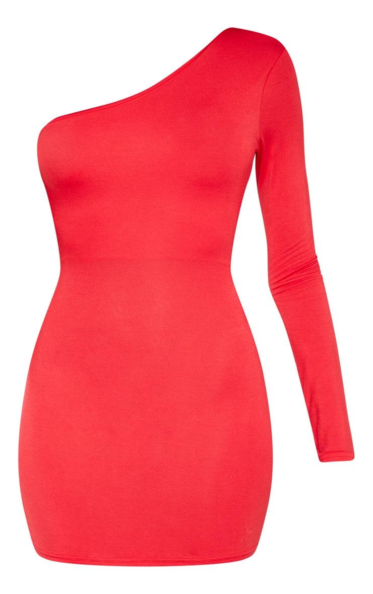 Robe moulante rouge à manche unique et double lanières dans le dos 3