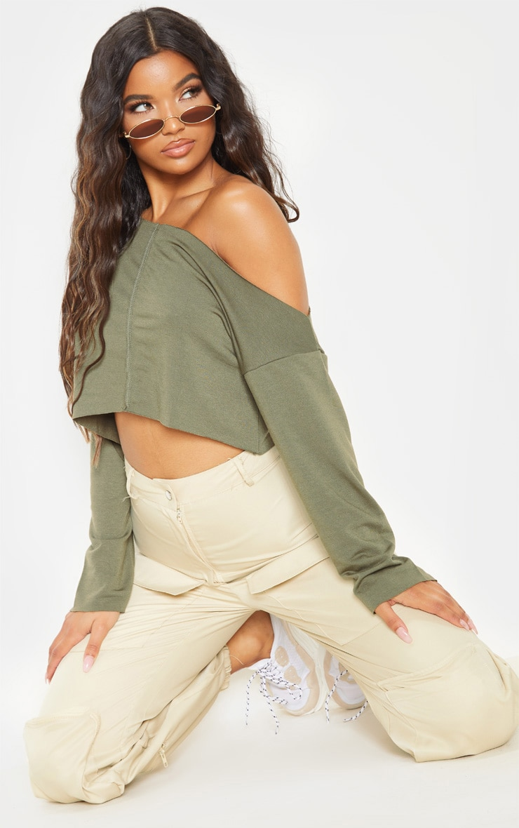 Hadley Khaki Off Shoulder Cropped Sweater 4