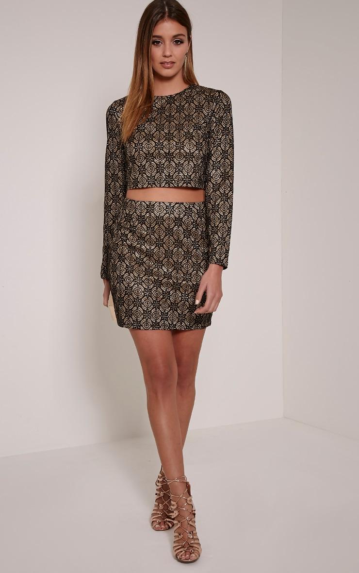 Nina Black Lace Glittery Crop Top 3
