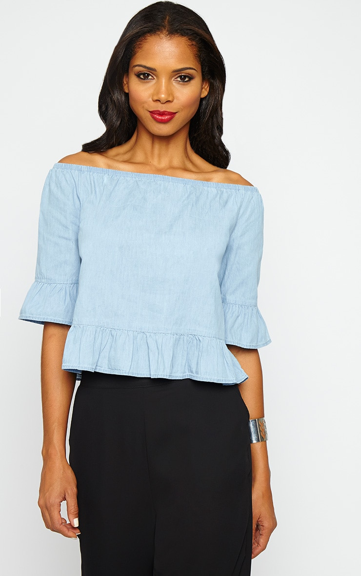 Dessie Blue Denim Bardot Frill Top 1