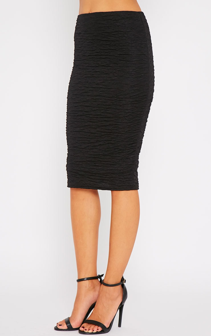 Lilly Black Crinkle Midi Skirt 3