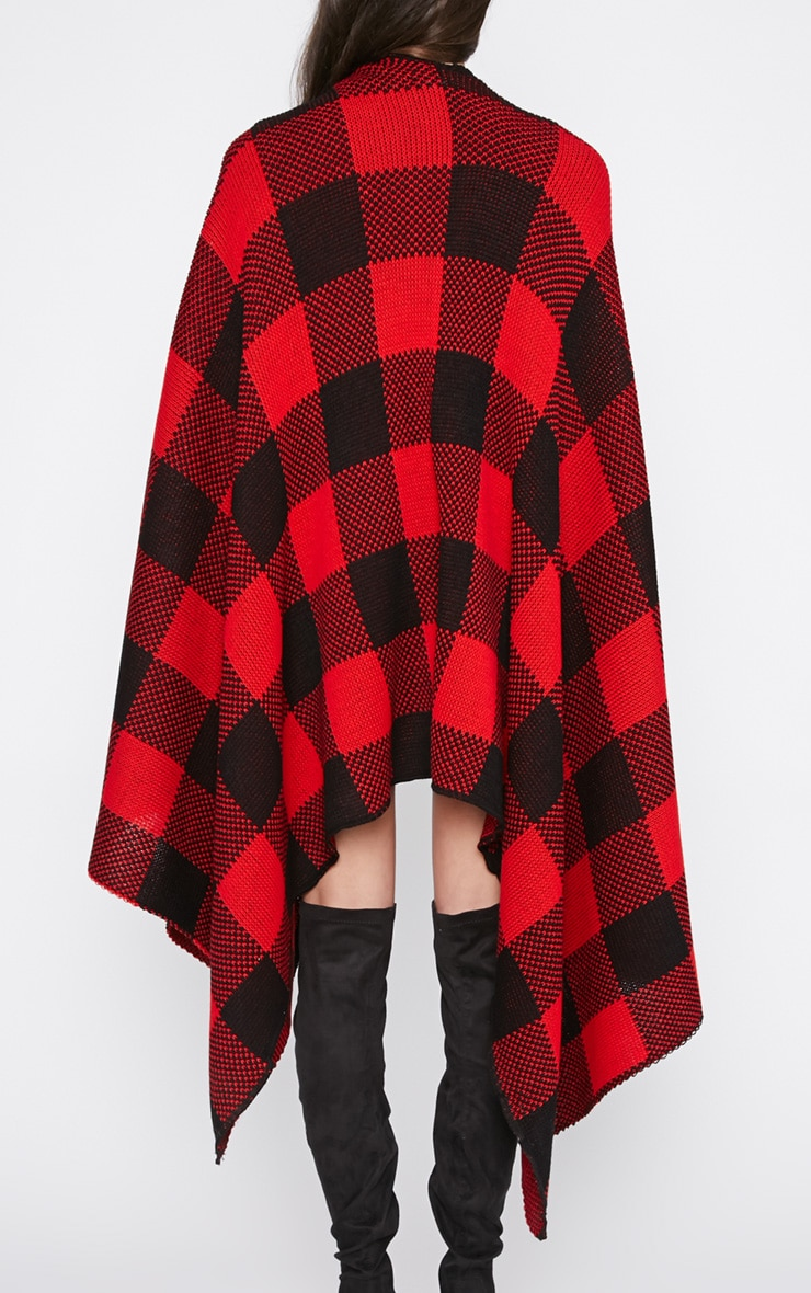 Isabella Red Checked Knitted Poncho  4