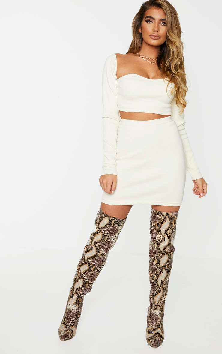 Cream Structured Rib Mini Skirt 1